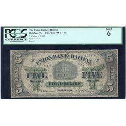 Union Bank of Halifax $5, 1886