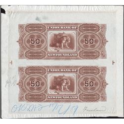 Union Bank of Newfoundland $50 May 1, 1889