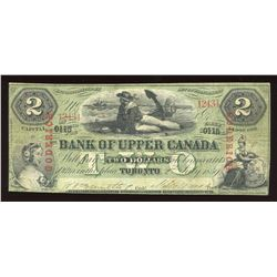 Bank of Upper Canada $2. July 2, 1859