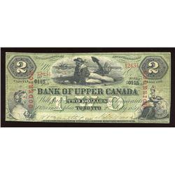 Bank of Upper Canada $2. July 2, 1859