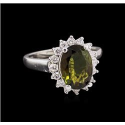 2.30 ctw Green Tourmaline and Diamond Ring - 14KT White Gold