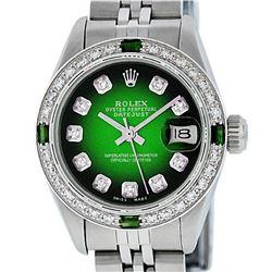 Rolex Ladies Stainless Steel 26MM Green Vignette Diamond Datejust Wriswatch