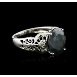 14KT White Gold 5.77 ctw Sapphire and Diamond Ring