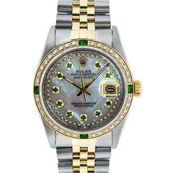 Rolex Mens 2 Tone 14K MOP Emerald String Diamond Datejust Wristwatch