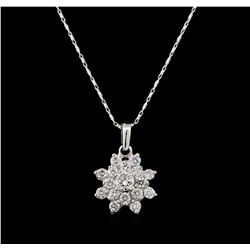 14KT White Gold 1.41 ctw Diamond Pendant With Chain