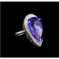 18.42 ctw Tanzanite and Diamond Ring - 14KT White Gold