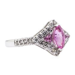 1.48 ctw Pink Sapphire Ring - 14KT White Gold