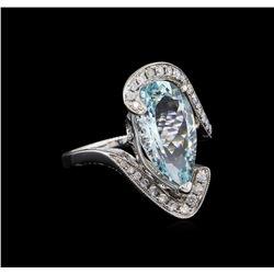 4.46 ctw Aquamarine and Diamond Ring - 14KT White Gold