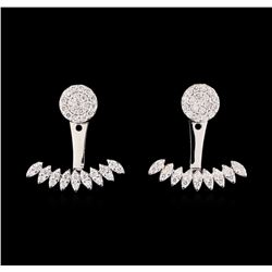 0.58 ctw Diamond Earrings - 14KT White Gold