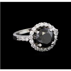 3.86 ctw Black Diamond Ring - 14KT White Gold