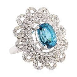 10.39 ctw Blue Zircon And Diamond Ring - 14KT White Gold
