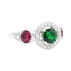 1.73 ctw Tsavorite Garnet, Ruby and Diamond Ring - 18KT White Gold