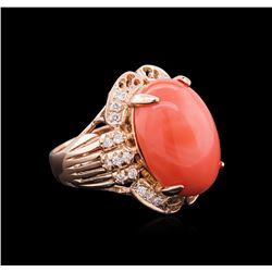 14.35 ctw Pink Coral and Diamond Ring - 14KT Rose Gold