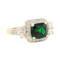 4.44 ctw Tsavorite Garnet And Diamond Ring - 14KT Yellow Gold