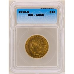 1916-S $10 Indian Head Eagle Gold Coin ICG AU58