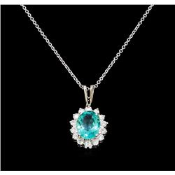2.52 ctw Apatite and Diamond Pendant With Chain - 14KT White Gold