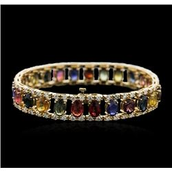 14KT Yellow Gold 23.25 ctw Sapphire and Diamond Bracelet