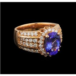 14KT Rose Gold 3.75 ctw Tanzanite and Diamond Ring