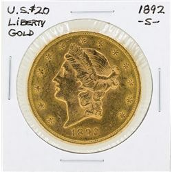 1892-S $20 Liberty Double Eagle Gold Coin