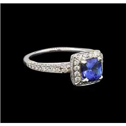 18KT White Gold 1.34 ctw Tanzanite and Diamond Ring