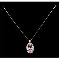 28.74 ctw Kunzite and Diamond Pendant With Chain - 14KT Rose Gold