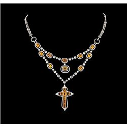 11.41 ctw Orange Sapphire and Diamond Necklace - 18KT White Gold