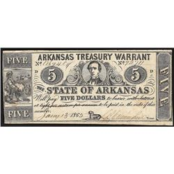 1862 $5 State of Arkansas Treasury Warrant Note
