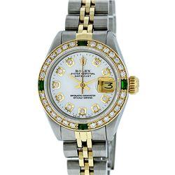 Rolex Ladies 2 Tone White Diamond & Emerald Datejust Wristwatch