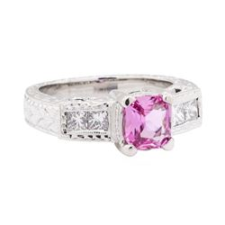 1.39 ctw Pink Sapphire And Diamond Ring - Platinum