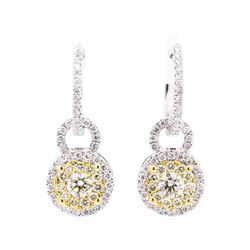 1.35 ctw Diamond Earrings - 14KT White And Yellow Gold