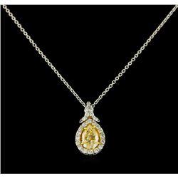 EGL USA Cert 1.28 ctw VS1 Fancy Yellow Diamond Pendant With Chain - Platinum