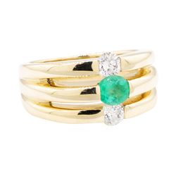 1.20 ctw Emerald And Diamond Ring - 14KT Yellow Gold