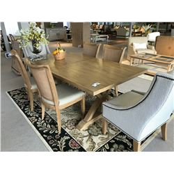 LEXINGTON ASH BIRCH DINING ROOM TABLE SET WITH 2 HOST CHAIRS, 4 SIDE CHAIRS, AND CENTER LEAF, DECOR
