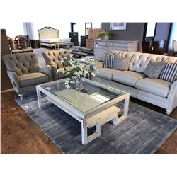 LEXINGTON ASH FINISHED LIVING ROOM SET WITH SOFA, 2 ARM CHAIRS, COFFEE TABLE, END TABLE, AND SIDE