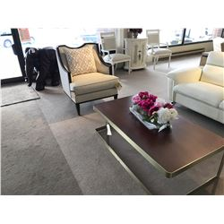 DESIGNER COFFEE AND END TABLE SET, WITH CLOTH AND WOOD FRAME ARM CHAIR, COMES WITH ADDITIONAL END