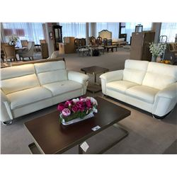 CREAM, REAL LEATHER CONTEMPORARY SOFA AND LOVESEAT SET