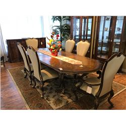 FORMAL DINING ROOM SUITE INCLUDING 4 SIDE CHAIRS, 2 ARM CHAIRS, TABLE WITH LEAF, 2 CURVED GLASS