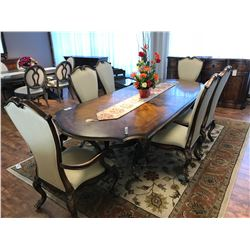 FORMAL DINING ROOM SUITE INCLUDING 4 SIDE CHAIRS, 2 ARM CHAIRS, AND TABLE WITH LEAF, DECOR AND