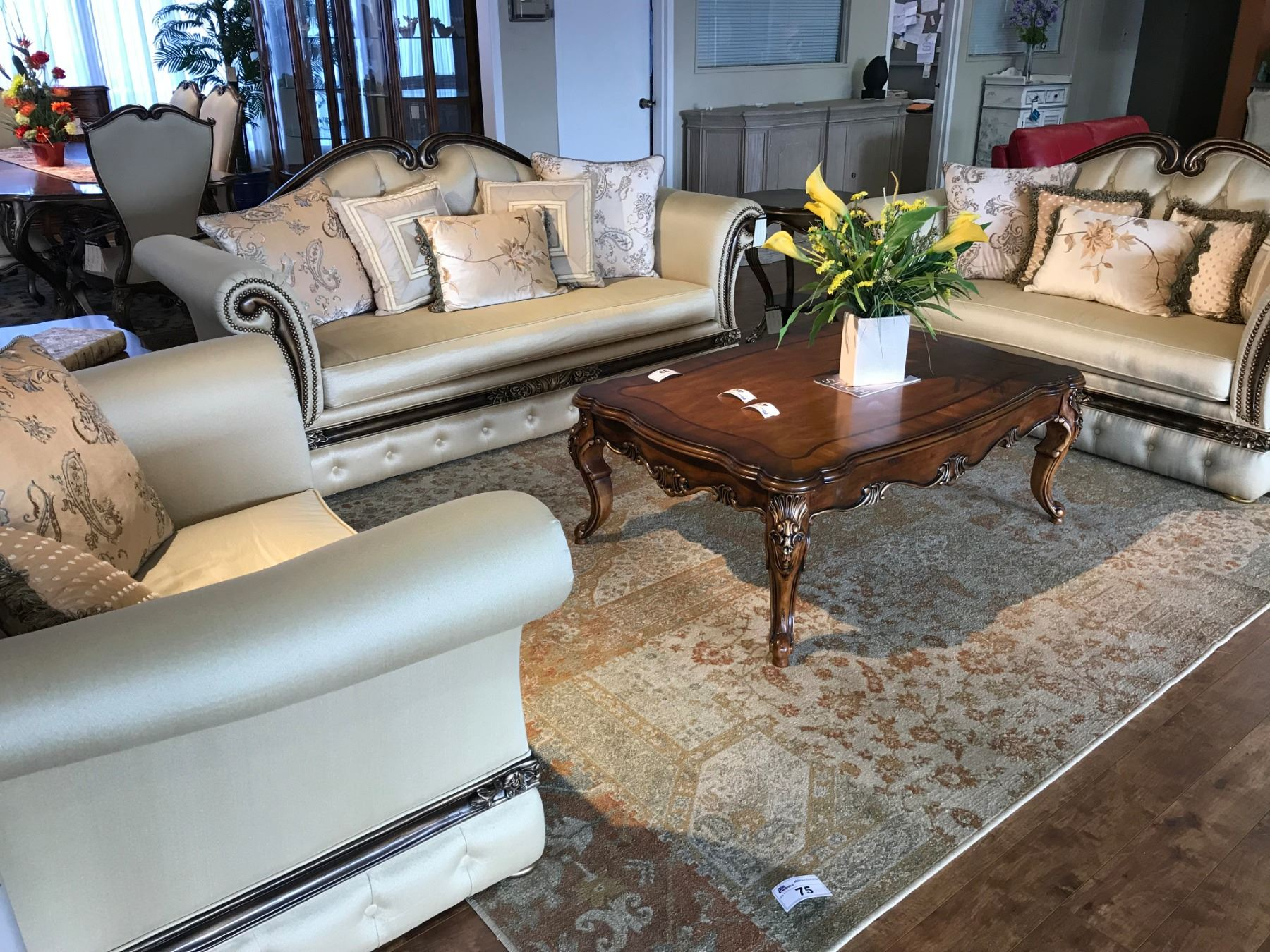 Formal Living Room Set Including Parisian Style Sofa Loveseat And Arm