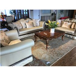 FORMAL LIVING ROOM SET INCLUDING PARISIAN STYLE SOFA, LOVESEAT AND ARM CHAIR SET, WITH COFFEE TABLE