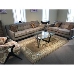 LIVING ROOM SET INCLUDING KUKA CONTEMPORARY SOFA AND LOVE SEAT, GLASS TOP COFFEE TABLE, JEWELLERY
