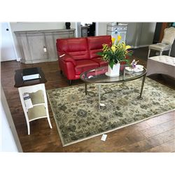 CONTEMPORARY LIVING ROOM SET INC. RED LEATHER LOVE SEAT, GLASS TOP COFFEE TABLE, 2 END TABLES, AND