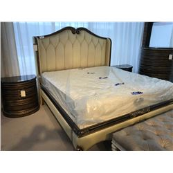 TUFTED CREAM ORNATE KING SIZE BED, MATTRESS/BOX SPRING NOT INCLUDED ITEM ORL-1129