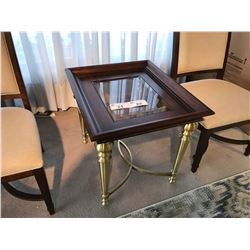 MAHOGANY BEVELLED GLASS TOP METAL FRAME 1.5' X 2' END TABLE