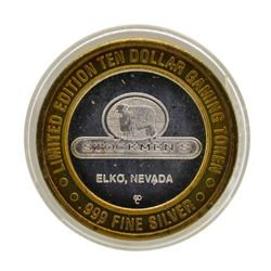 .999 Silver Stockmen's Elko, Nevada $10 Limited Edition Casino Gaming Token