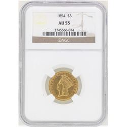 1854 $3 Indian Princess Head Gold Coin NGC AU55
