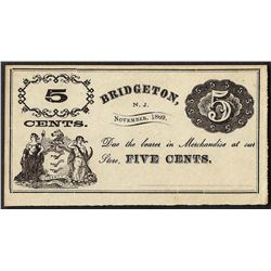 1869 Five Cents Bridgeton, NJ Obsolete Note