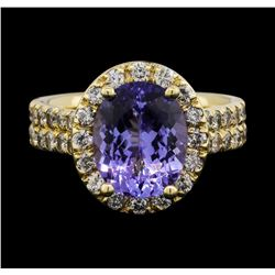 14KT White Gold 3.26 ctw Tanzanite and Diamond Ring
