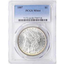 1887 $1 Morgan Silver Dollar Coin PCGS MS64 Amazing Toning