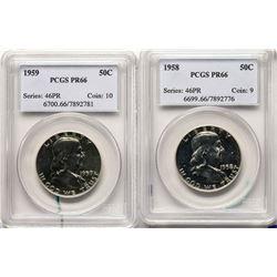 Lot of 1958-1959 Proof Franklin Half Dollar Coins PCGS PR66